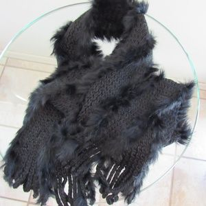 Echo Rabbit Hair and acrylic scarf/wrap black